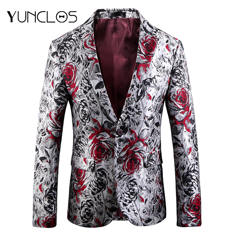 YUNCLOS  Rose Jacquard Men Blazer Slim Fit Wedding Party Suit Jackets High Quality Blazer Jackets Americana Hombr