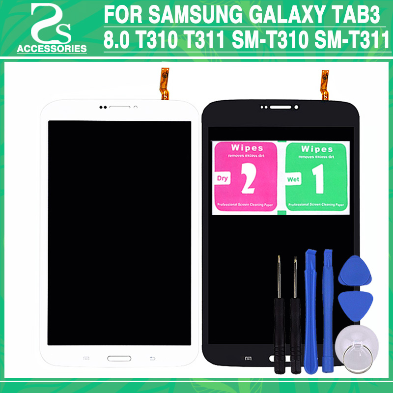 цены Test New t310 lcd touch panel For Samsung Galaxy Tab3 8.0 T310 T311 SM-T310 SM-T311 Display Digitizer Touch Screen Assembly+Tool
