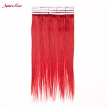 Aphro Hair Tape In Hair Extension 100% Human Hair 20Pcs 16″-24″ Inch Non-Remy Brazilian Hair Straight #Red Color