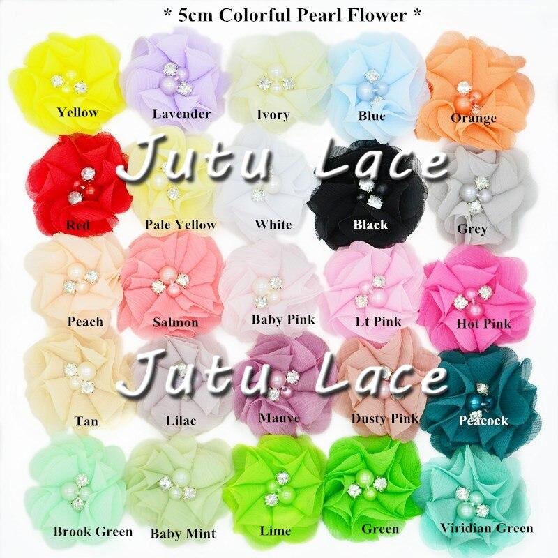 300 pcs lot 5 cm hair fashion accessories colorful pearl rhinestone chiffon flowers headbands chiffon flowers