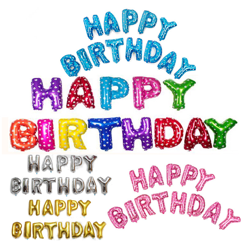 Multicolor Letters HAPPY BIRTHDAY Foil Balloons Silver