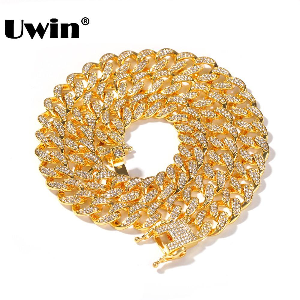 Collar de cadena de enlace cubano Uwin Miami 13mm collar de joyería de moda de Color dorado plateado con diamantes de imitación