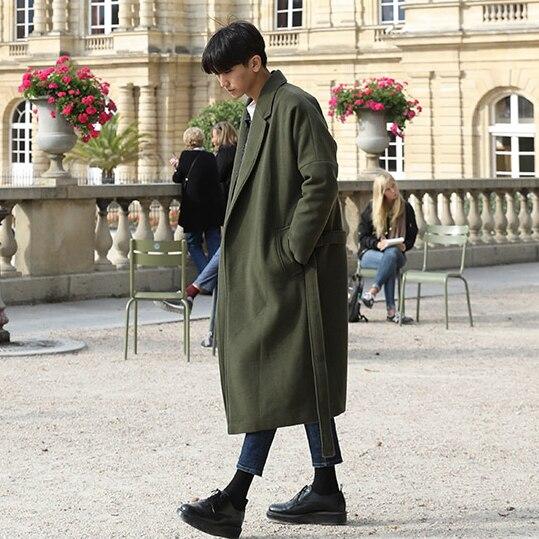 2019 Trench mâle Long Design épaississement thermique laine manteau mâle vêtements coupe large laine