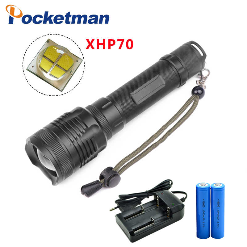 New XHP70 40000lm flashlight powerful Tactical LED flashlight torch zoomable xhp70 Lantern power by 2*18650 battery