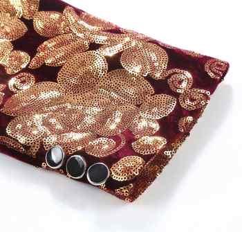 PYJTRL Male Fashion Shawl Lapel Wine Red Velvet Gold Flowers Sequins Blazer Plus Size 5XL Stage Clothes For Singers Suit Jacket