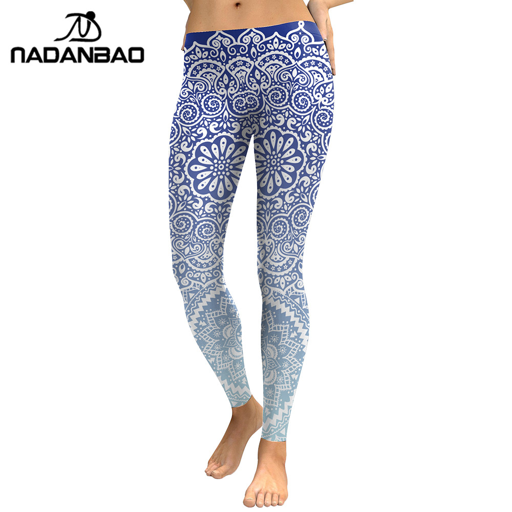 NADANBAO 2019 Autumn Women Leggings Fresh Lotus Digital Print Woman Leggins Aztec Round Ombre Fitness Workout Plus Size Legging