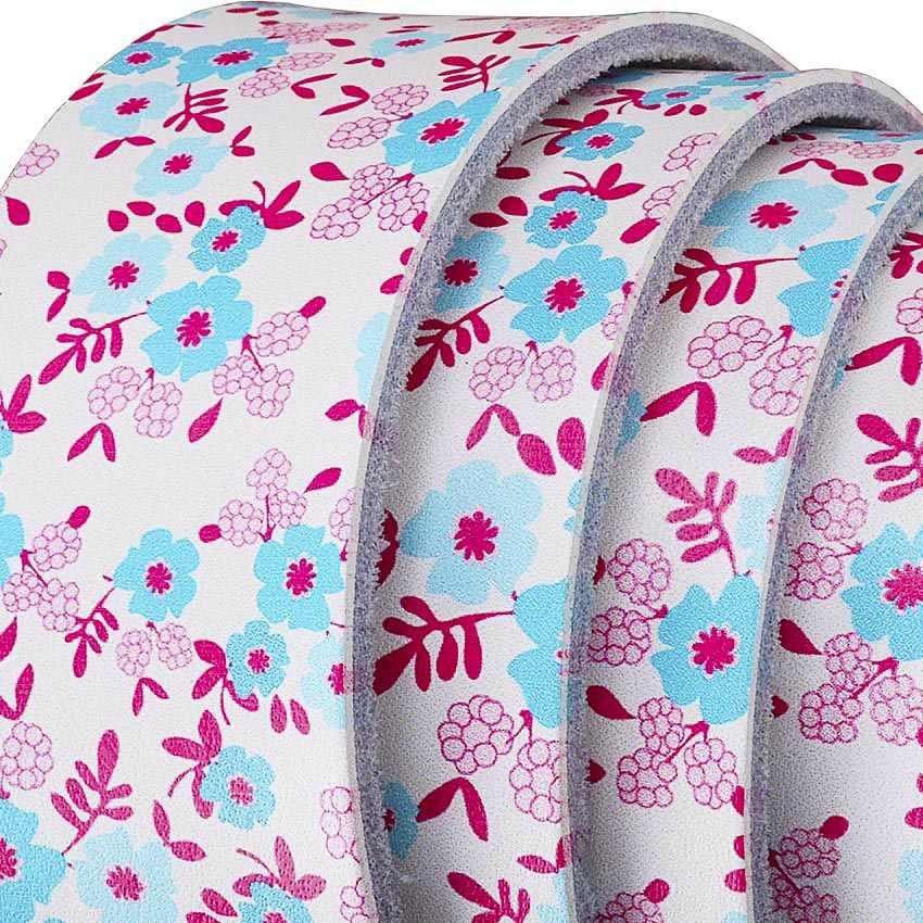 Lebar Kulit Asli Ikat Pinggang untuk Wanita Fashion Printing Biru Bunga Ikat Pinggang Wanita Kualitas Tinggi Pin Gesper Wanita Tali Kedua Cowskin