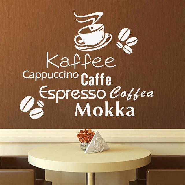 Fashion Kaffee Cuccino Caffe Letters Wall Decals Coffee Kitchen Home Decor Vinyl Stickers Decorative