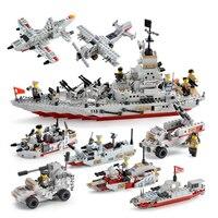 8 in1 Battleship Blocks Compatible Legoing Battleship Lepin City Military Army Ship Educational Building Blocks Children Toys
