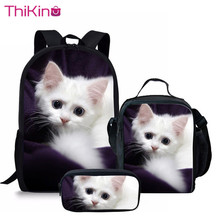 Thikin 3 Pcs/set Children School Bags 3D Cute Cat Pattern Backpack for Teen Boys Girls Kids Book Travel Machila