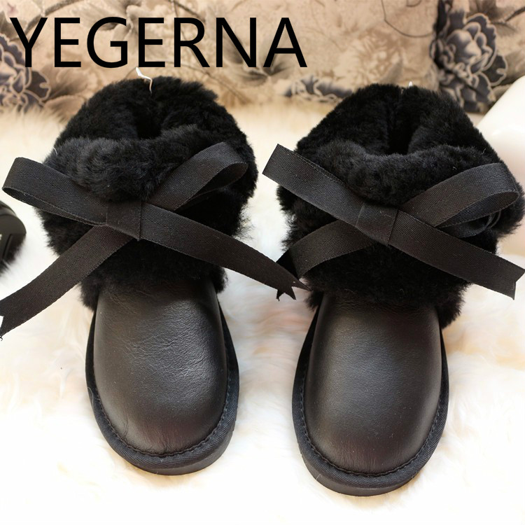 Genuine Sheepskin Leather Boots 100 Natural Fur Wool Warm Winter Women Boots High Quality Fashion