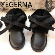 Genuine Sheepskin Leather Boots 100% Natural Fur Wool Warm Winter Women Boots High Quality Fashion Women Snow Boots