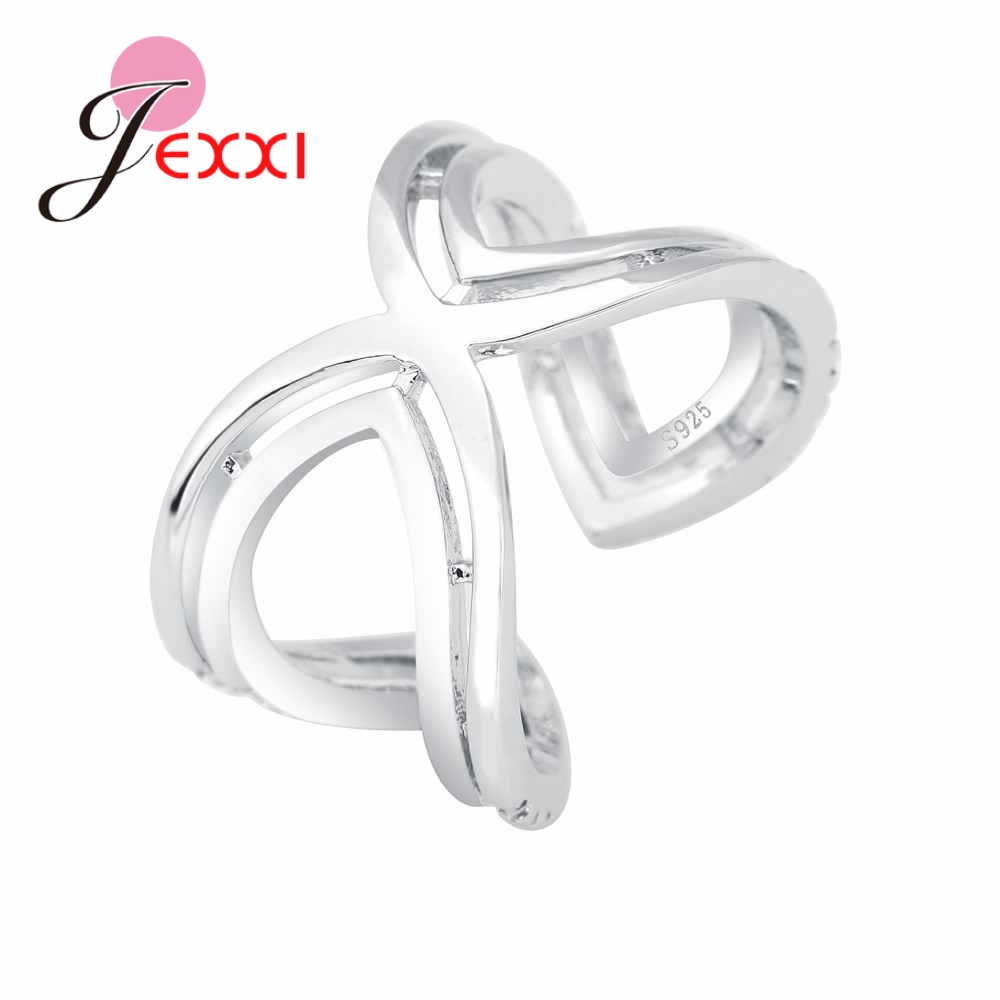 JEXXI Special Design Simple Cross Jewelry for Women Girls 925 Sterling Silver Open Finger Ring For Party High Quality Wholesale