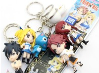 Anime Fairy Tail PVC Figure Model and Retail (6 pcs/set) Natsu Happy Lucy Gray Elza Fairy Tail Toy Action Figures Keychain
