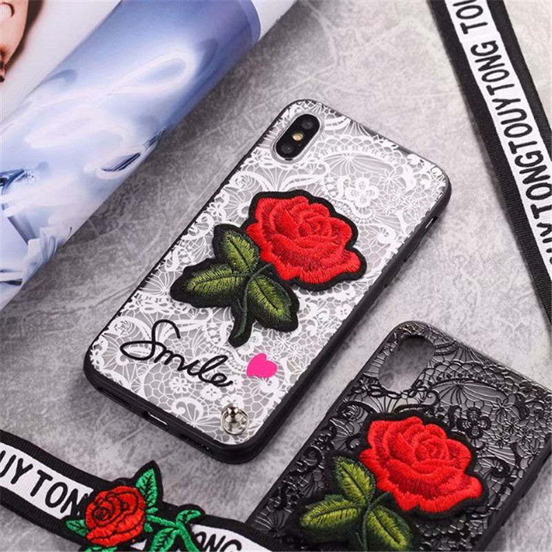 3D Rose Flower Case For OPPO F5 A73 A79 A83 A71 Sexy Lace Back Cover for OPPO F7 F9 A77 A59 A53 A57 A33 A37 A31 With Lanyard in Fitted Cases from Cellphones Telecommunications