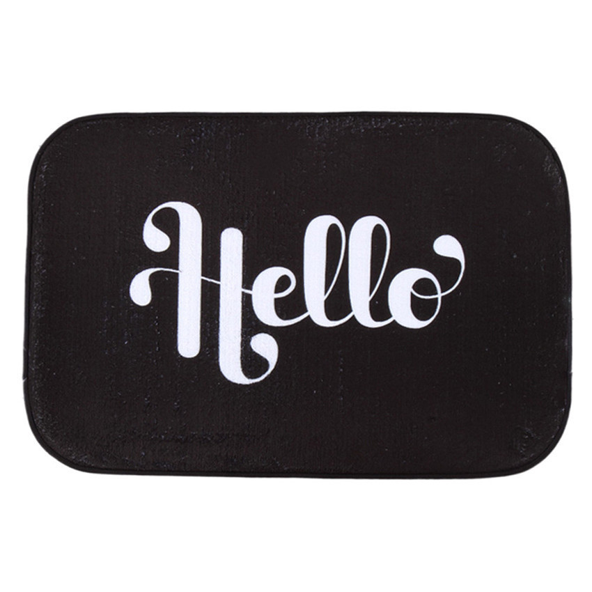 2016 Decor Black Doormat Hello Letter Antiskid Floor Door Carpet Rug Ground  Mats Home Decor 40*60cm On Sale