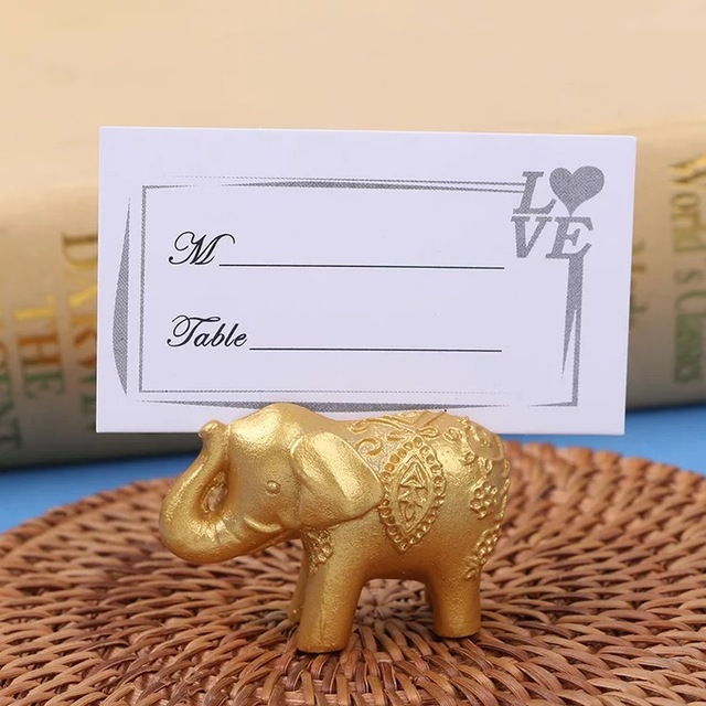10pcs gold elephant place card holders wedding bridal shower favors and gift rustic wedding centerpieces decoracion