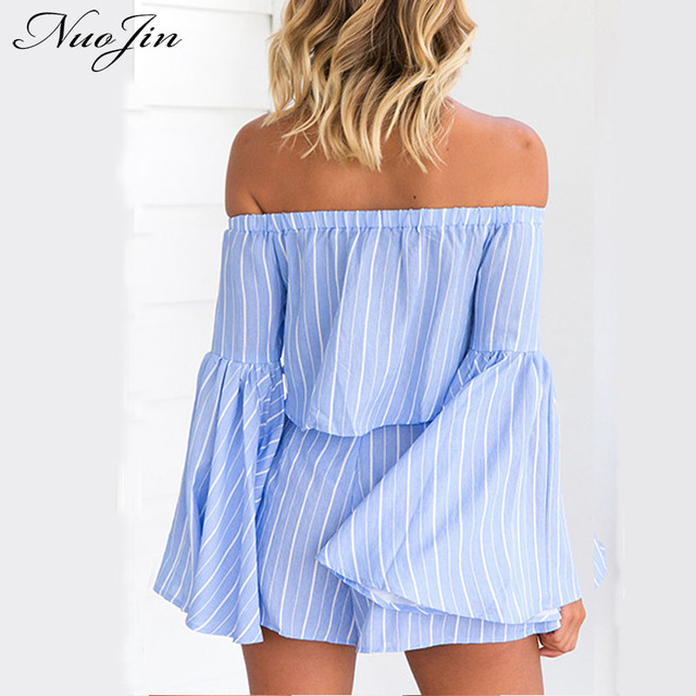 4ac1768b8 NuoJin Fashion Striped Two Piece Crop Top and Short Pants Set Off Shoulder  Flare Sleeve Blouse Shirts Women Ruffle Pant Blusas