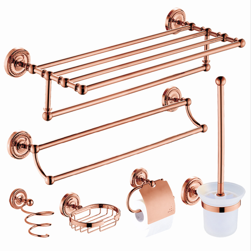 Vintage Rose Gold Brass Towel Shelf Soap Dish Toothbrush Holder Metal Wall Mounted Hair Dryer Rack Bathroom Towel Pendant Set image