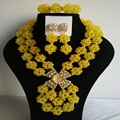 Unique Yellow nigerian wedding african beads jewelry set  crystal  B5019