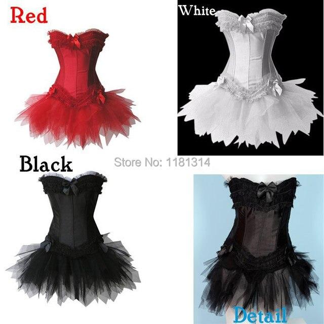 Бесплатный пп 2012 Мода Женщин Черный/Белый/Красный Длинные Кости Атлас Кружевной Корсет с Пачки Платье Завод Wholesalewalsonstyles