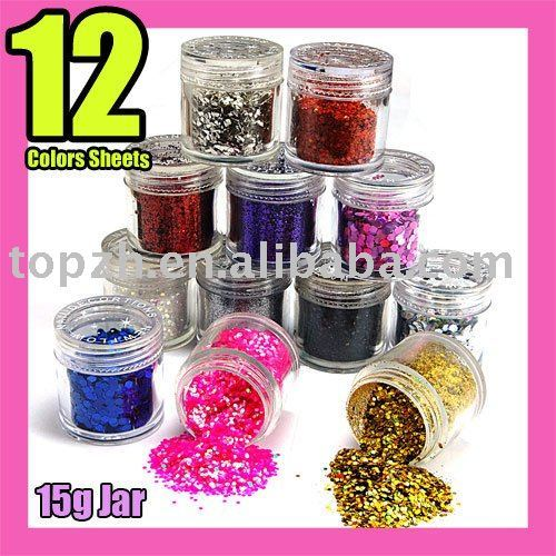 Wholesales Price Fast Shiping 12Bottle/Set 12 Colors Nail Art Glitter Sheets Acylic Tips DIY C088