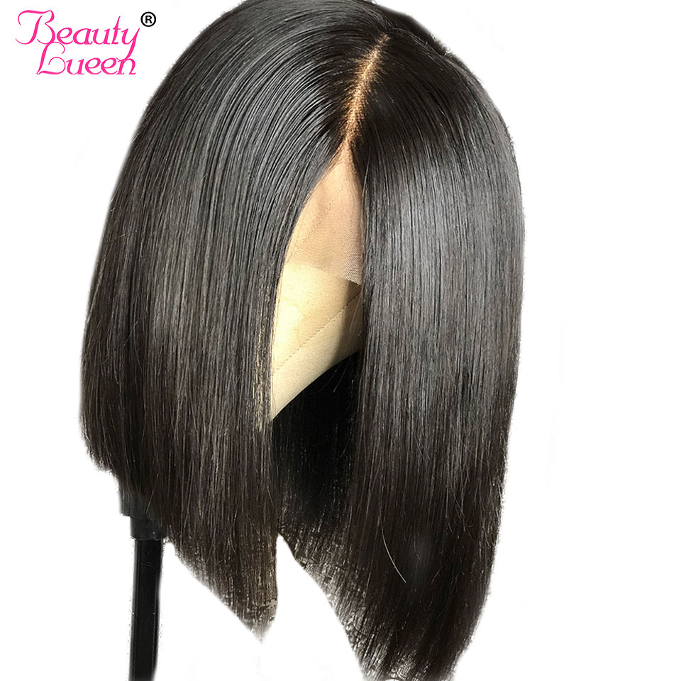 Glueless Short Human Hair Lace Front Bob Wigs For Black Women Brown Straight Lace Front Human