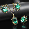 2017 vintage bronze chapeado azul Royal cristal verde conjunto de jóias de casamento william kate moda nupcial Colar Brincos anel 1105