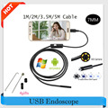 7mm endoscopio cam lente micro usb otg 6 led de vídeo USB Mini Cámara Endoscopio de la Serpiente Cámara de Inspección para Android teléfono/PC