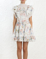 High End Quality Zim HOliday Dress 2019 Vacation Beach Lace Patchwork Short Dress Ruffles Flower Print Pleated Sexy Summer Dress