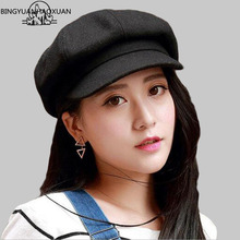 BINGYUANHAOXUAN Beret Imitation wool Octagonal Cap Benn Painter Hat Men Hats Female Vintage Winter For Women Flat