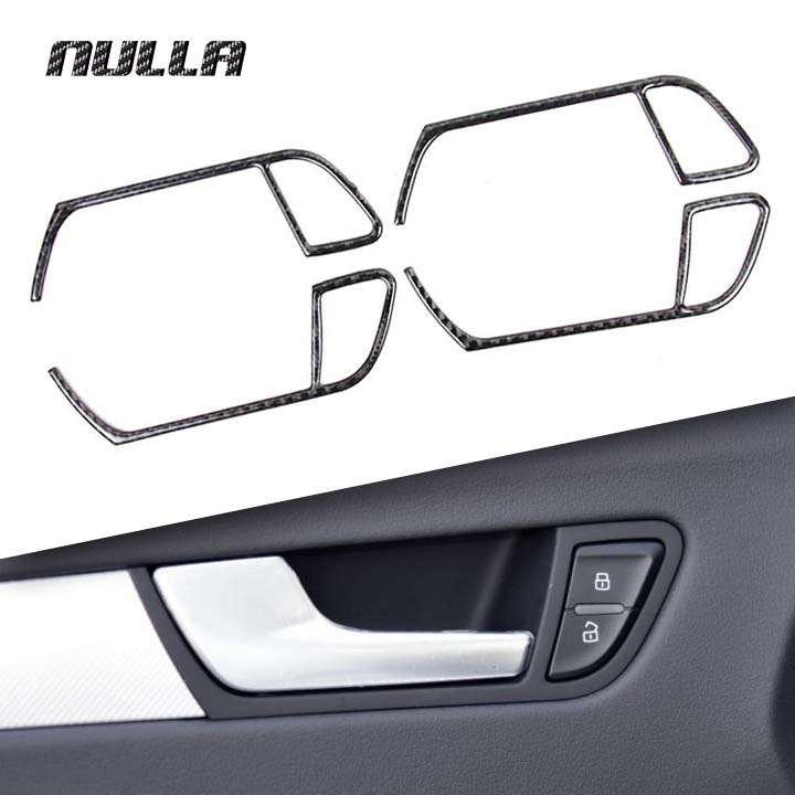 NULLA Carbon Fiber Car Interior Door Handle Decoration Sticker Accessories for <font><b>Audi</b></font> <font><b>A4</b></font> B8 A5 2009 2010 2011 2012 <font><b>2013</b></font> 2014 2015 image