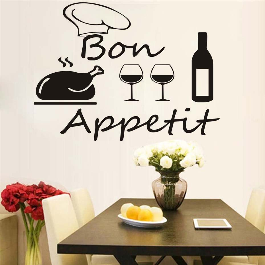 French Kitchen Dining Room Wall Sticker Diy Vinyl Turkey Chef Hat Wine  Bottle And Glasses Decal