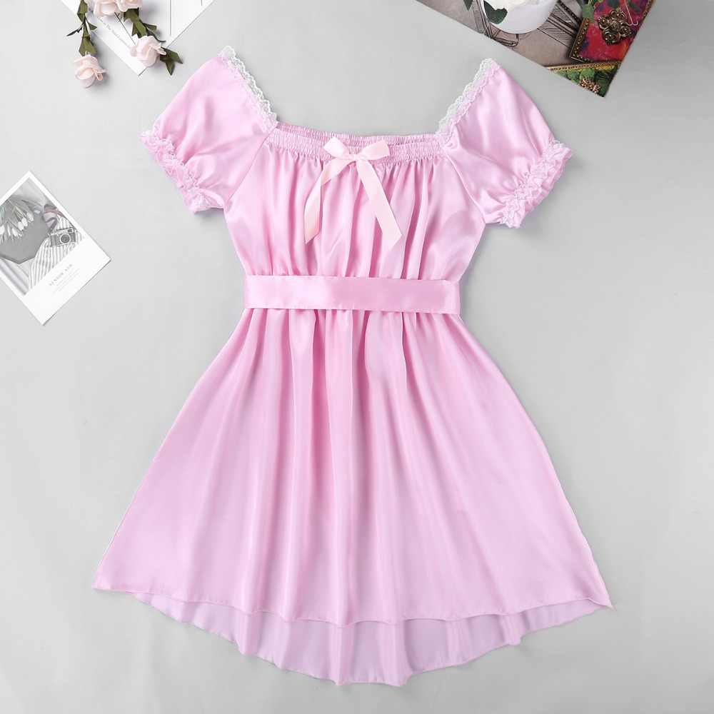 202fd9564388d Men Shiny Soft Dress Sexy Lingerie with Sash Nightwear Sissy Short Sleeve  Square Neckline Satin Dress Gay Smooth Sweet Underwear