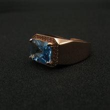 Кольцо из стерлингового серебра 925 пробы с голубым топазом