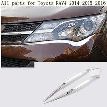 Высокое качество для Toyota RAV4 2014 2015 2016 кузова спереди головной свет лампы Hood литья frame stick ABS хромированной отделкой 2 шт.