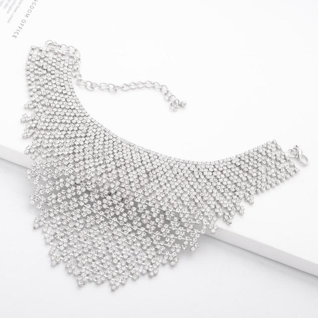 Jewdy Rhinestone Choker Luxury Statement Wedding Chocker Big Tassel Necklace For Women Flower Collier 2017 Fashion Jewellery 4