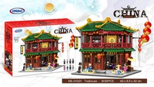 New  XINGBAO 01021 3033Pcs Chinese Building Series The Toon Tea House Set Blocks Bricks Kids Toys Model Birthday Gifts