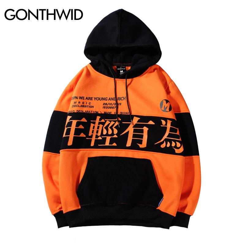 GONTHWID Color Block Letter Printed Pullover Fleece Hoodies Sweatshirts Men 2019 Fashion Harajuku Hip Hop Casual Streetwear Male-in Hoodies & Sweatshirts from Men's Clothing    1