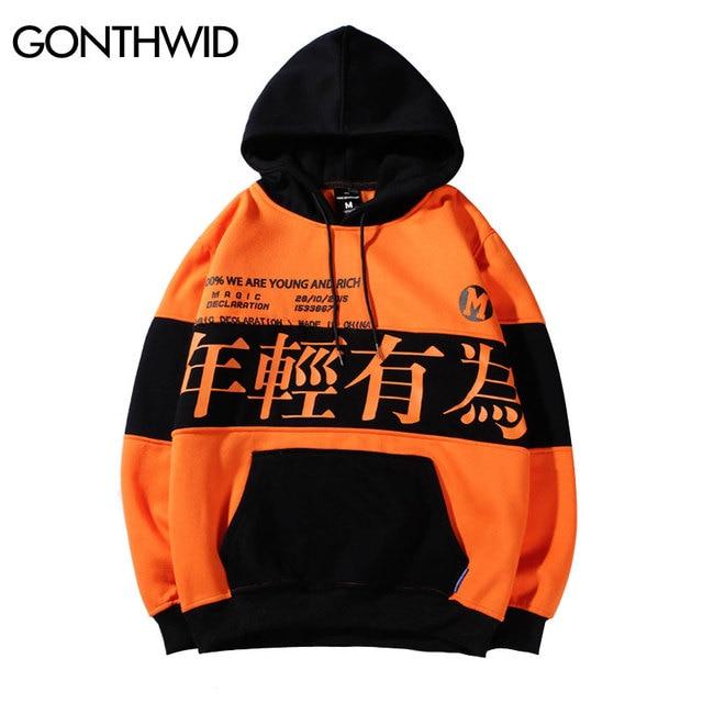 3ad2a64319 GONTHWID Color Block Letter Printed pulóver Fleece Hoodies sudaderas  hombres 2018 moda Harajuku Hip Hop Casual