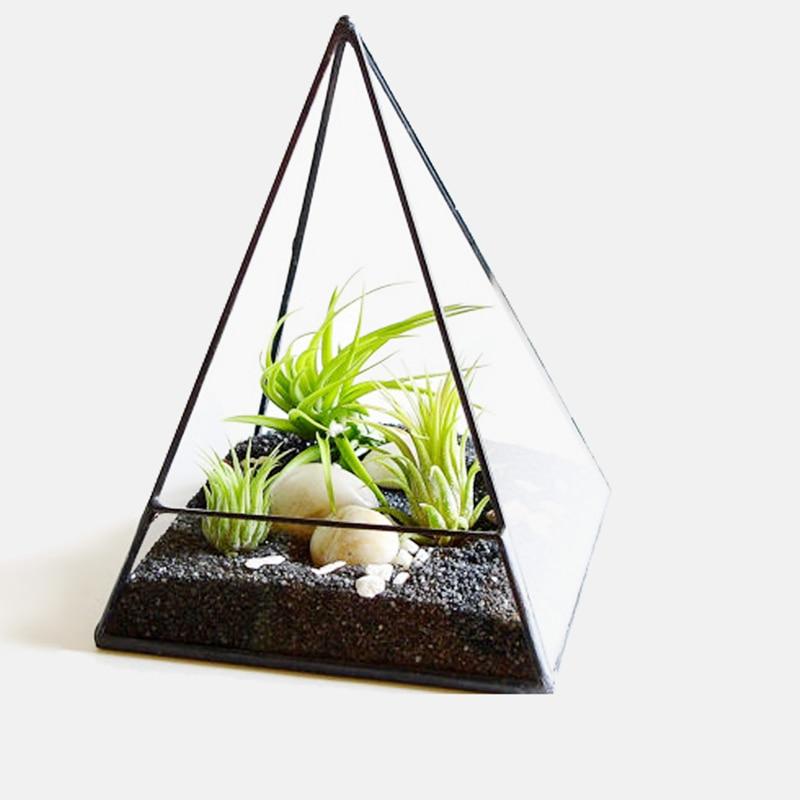 Plant Care Supplies, Soil & Accessories Glass Metal Geometric Terrarium Box Pyramid Succulent Planter Box Pot Black