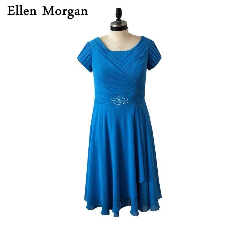 Simple Wedding Dress For Godmother: Blue Short Mother Of The Bride Groom Dresses For Summer