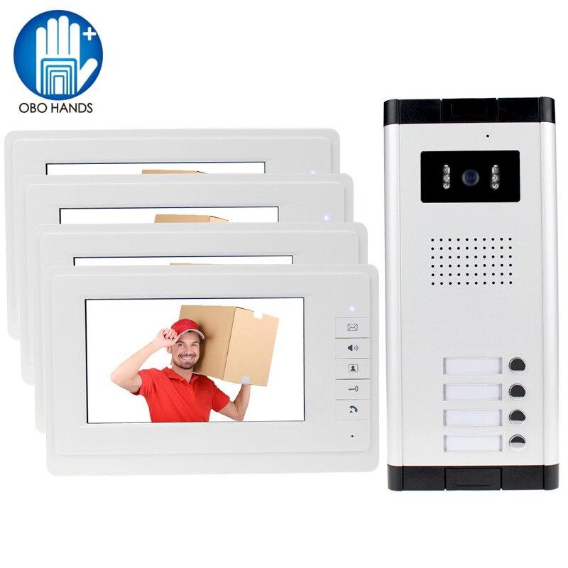 OBO HANDS 7 inch Color Video Door Phone 4 Monitors with 1 Intercom Doorbell Can Control