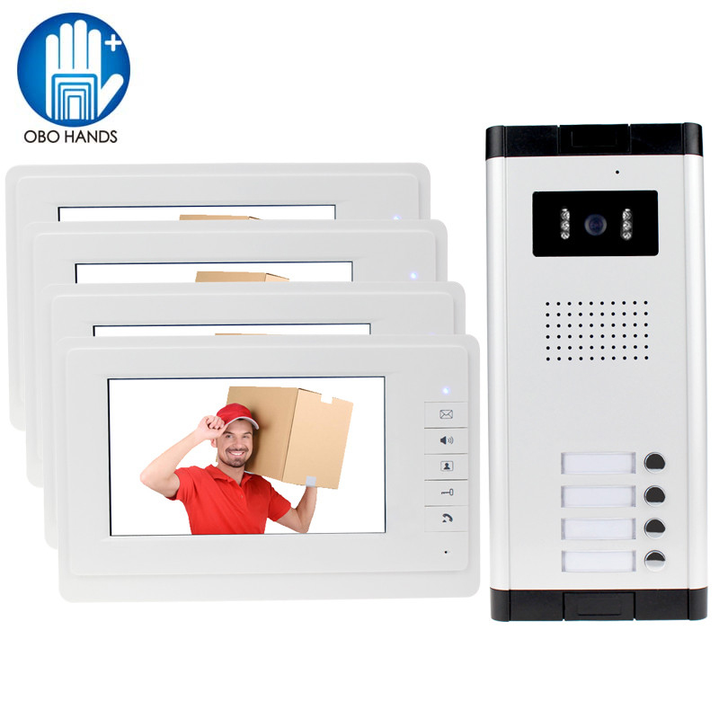 OBO HANDS 7 inch Color Video Door Phone 4 Monitors with 1 Intercom Doorbell Can Control 4 Houses for Multi Apartment/Home Safe