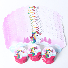 12set/pack Unicorn Cupcake Wrappers Topper Happy Birthday Baby Shower Kids  Cake Decor Supplies(12 wraps+12 topper)