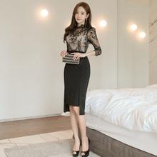 Perspective Casual Office Dress Women Lace Patchwork Black Vintage Vestidos Verano 2019 Solid Elegant