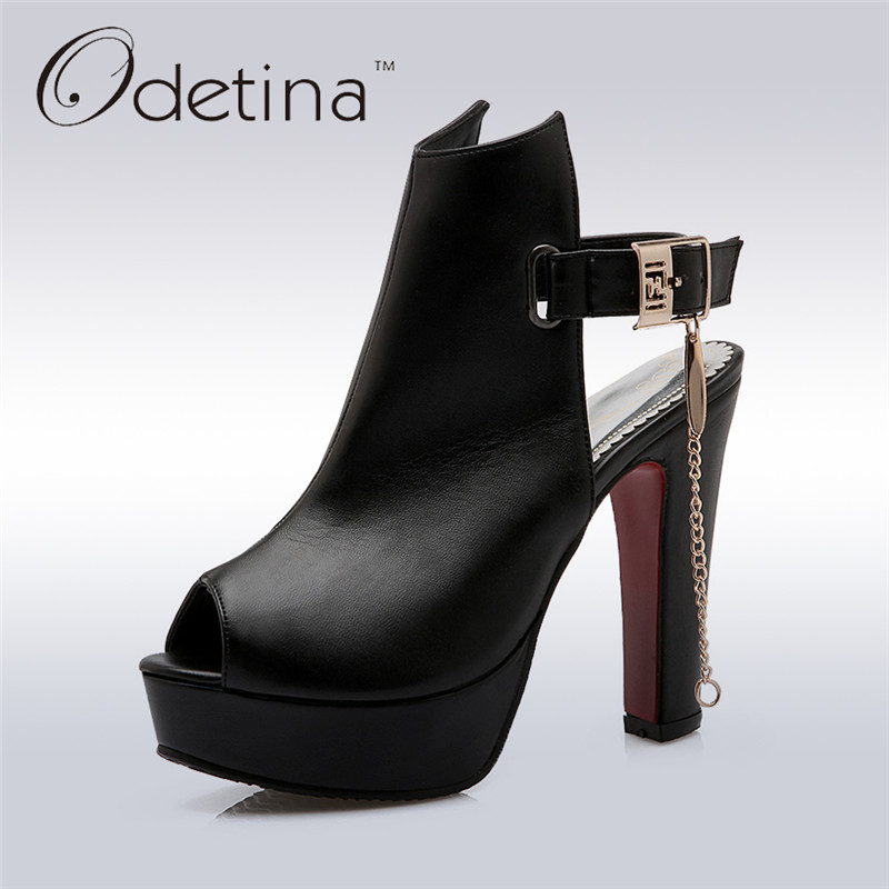 Odetina 2017 New Summer Boots Sexy High Heels Slingbacks Women Sandals Thick Heel Platform Sandals Casual Shoes Big Size 34-50