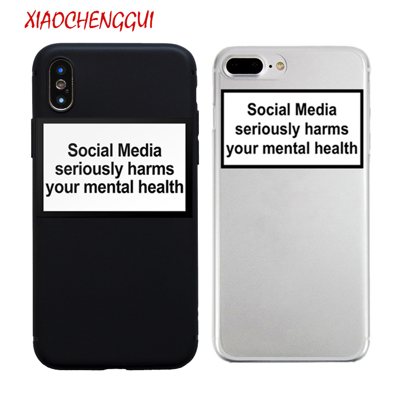 social media seriously harms your mental health soft Silicone clear cover case for iPhone X XR XS Max 6 7 8 plus 5 5s 11 Pro max image