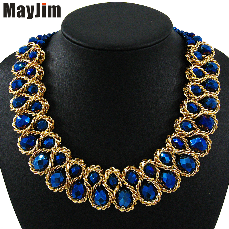 MayJim Statement Choker necklace 2017 Fashion Women Hand woven chunky Gold Chain Crystal Bead collar Necklaces