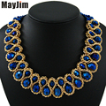 MayJim Statement Choker necklace 2017 Fashion Women Hand-woven chunky Gold Chain Crystal Bead collar Necklaces & Pendants Bijoux